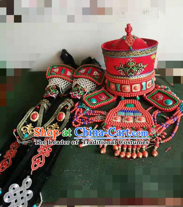 Traditional Handmade Chinese Mongol Nationality Handmade Princess Hat, China Mongols Mongolian Minority Nationality Wedding Bride Headwear Headpiece for Women