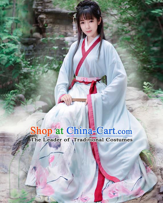 Traditional Ancient Chinese Costume Jin Dynasty Embroidery Blouse and Dress, Elegant Hanfu Clothing Chinese Young Lady Princess Costume for Women