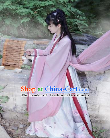 Traditional Ancient Chinese Costume Jin Dynasty Pink Big Sleeve Cardigan Blouse and Dress, Elegant Hanfu Clothing Chinese Palace Princess Costume for Women