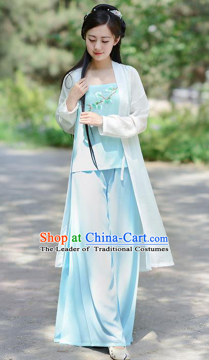 Traditional Ancient Chinese Costume Song Dynasty Young Lady Embroidery BeiZi and Pants, Elegant Hanfu Clothing Chinese Palace Princess Costume for Women