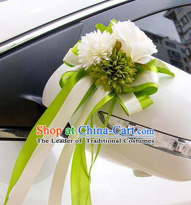 Top Grade Wedding Accessories Decoration, China Style Wedding Car Ornament Green Flowers Bride Silk Ribbon Garlands