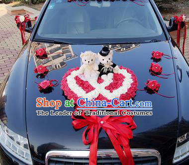 Top Grade Wedding Accessories Decoration, China Style Wedding Car Ornament Red Flowers Heart-shaped Plate