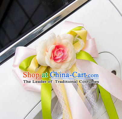 Top Grade Wedding Accessories Decoration, China Style Wedding Car Ornament Bowknot Flowers Bride Pink Silk Ribbon Garlands