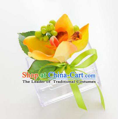 Top Grade Classical Wedding Yellow Silk Flowers,Groom Emulational Corsage Groomsman Brooch Flowers for Men