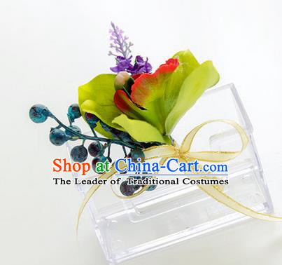 Top Grade Classical Wedding Bacca Silk Flowers,Groom Emulational Corsage Groomsman Brooch Flowers for Men