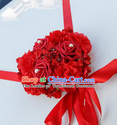 Top Grade Wedding Accessories Decoration, China Style Wedding Car Bowknot Red Rose Flowers Ribbon Garlands Ornaments