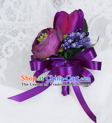 Top Grade Classical Wedding Purple Silk Flowers,Groom Emulational Corsage Groomsman Brooch Flowers for Men
