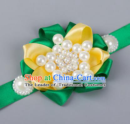 Top Grade Classical Wedding Pearl Green Ribbon Bangle, Bride Emulational Wrist Flowers Bridesmaid Bracelet Flowers for Women