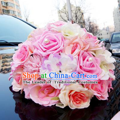 Top Grade Wedding Accessories Pink Ball-flower Decoration, China Style Wedding Car Ornament Ribbon Flowers