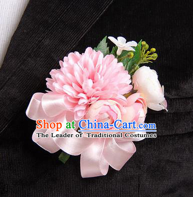 Top Grade Classical Wedding Pink Ribbon Silk Flowers,Groom Emulational Corsage Groomsman Brooch Flowers for Men