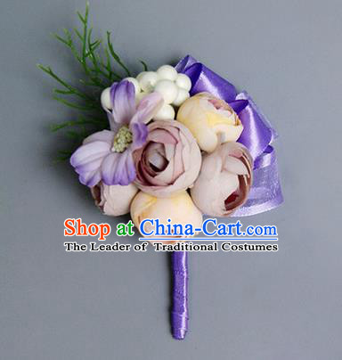 Top Grade Classical Wedding Lilac Silk Flowers,Groom Emulational Corsage Brooch Flowers for Men