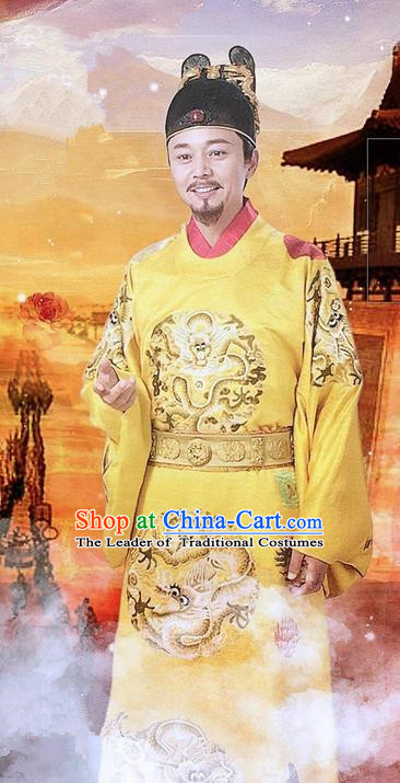 Traditional Ancient Chinese Imperial Emperor Costume and Headpiece Complete Set, Chinese Ming Dynasty Majesty Imperial Robe Embroidered Dragon Clothing