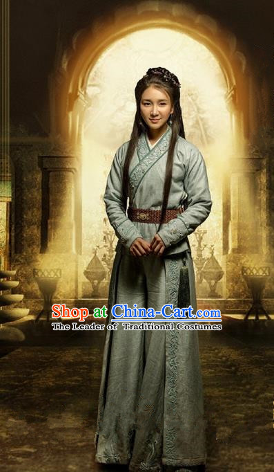 Traditional Ancient Chinese Qiuci Countries Imperial Princess Costume and Handmade Headpiece Complete Set, Chinese Qin Dynasty Young Lady Hanfu Dress Clothing