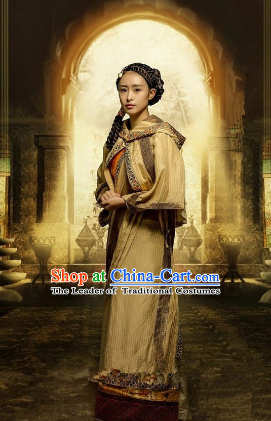 Traditional Ancient Chinese Qiuci Countries Minority Princess Costume and Handmade Headpiece Complete Set, Chinese Qin Dynasty Lady Hanfu Dress Clothing