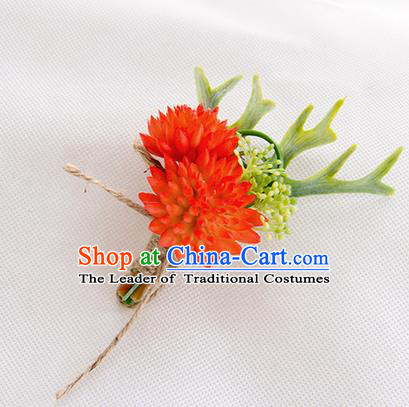 Top Grade Classical Wedding Succulents Flowers,Groom Emulational Corsage Groomsman Red Brooch Flowers for Men