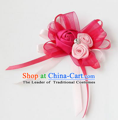 Top Grade Classical Wedding Ribbon Flowers, Bride Emulational Corsage Bridesmaid Rosy Bowknot Brooch Flowers for Women