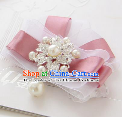 Top Grade Classical Wedding Dusty Pink Silk Flowers, Bride Emulational Corsage Bridesmaid Bowknot Brooch Flowers for Women