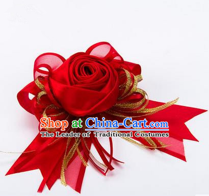 Top Grade Classical Wedding Red Silk Rose Flowers, Bride Emulational Corsage Bridesmaid Bowknot Ribbon Brooch Flowers for Women