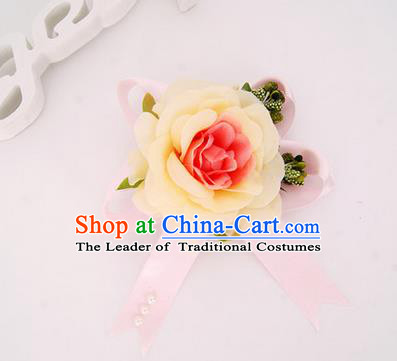 Top Grade Classical Wedding Champagne Silk Flowers, Bride Emulational Corsage Bridesmaid Bowknot Ribbon Brooch Rose Flowers for Women
