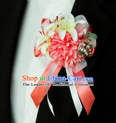 Top Grade Classical Wedding Silk Flowers,Groom Emulational Corsage Groomsman Watermelon Red Brooch Flowers for Men