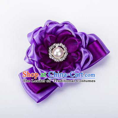 Top Grade Classical Wedding Purple Ribbon Silk Bangle Flowers, Bride Emulational Wrist Flowers Bridesmaid Bracelet Pearl Flowers for Women