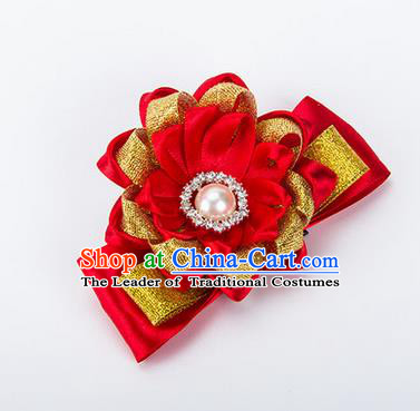 Top Grade Classical Wedding Red Ribbon Silk Bangle Flowers, Bride Emulational Wrist Flowers Bridesmaid Bracelet Pearl Flowers for Women