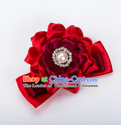 Top Grade Classical Wedding Wine Red Ribbon Silk Bangle Flowers, Bride Emulational Wrist Flowers Bridesmaid Bracelet Pearl Flowers for Women