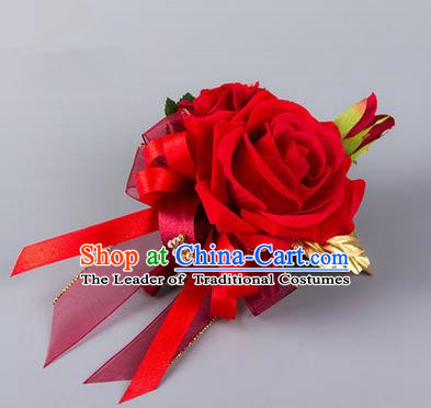 Top Grade Classical Wedding Silk Flowers,Groom Emulational Corsage Groomsman Red Rose Brooch Flowers for Men
