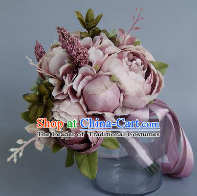 Top Grade Classical Wedding Light Purple Flowers, Bride Holding Emulational Flowers, Hand Tied Bouquet Flowers for Women