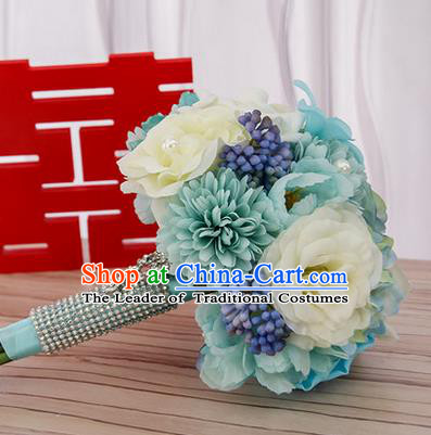 Top Grade Classical Wedding Silk Blue Flowers, Bride Holding Emulational Flowers, Hand Tied Bouquet Flowers for Women