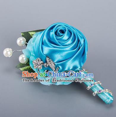 Top Grade Classical Wedding Crystal Silk Flowers,Groom Emulational Corsage Groomsman Blue Ribbon Pearl Brooch Flowers for Men