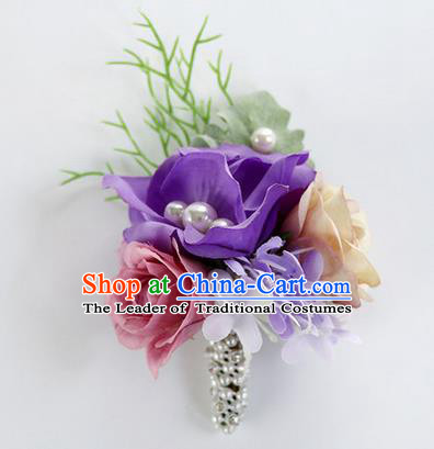 Top Grade Classical Wedding Purple Flower Brooch, Bride Emulational Corsage Bridesmaid Brooch Flowers for Women