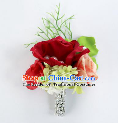 Top Grade Classical Wedding Red Flower Brooch, Bride Emulational Corsage Bridesmaid Brooch Flowers for Women