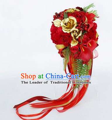 Top Grade Classical Wedding Red Rose Flower Brooch, Bride Emulational Corsage Bridesmaid Brooch Flowers for Women