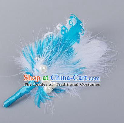 Top Grade Classical Wedding Blue Feather Corsage Brooch, Groom Emulational Corsage Groomsman Brooch Flowers for Men