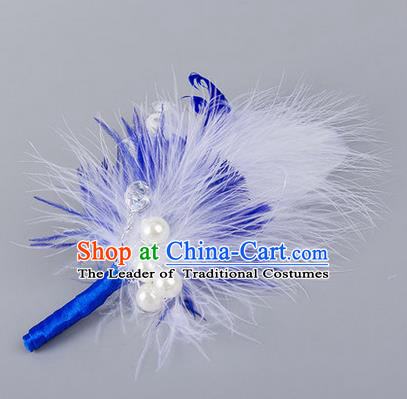 Top Grade Classical Wedding Royalblue Feather Corsage Brooch, Groom Emulational Corsage Groomsman Brooch Flowers for Men