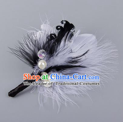 Top Grade Classical Wedding Black Feather Corsage Brooch, Groom Emulational Corsage Groomsman Brooch Flowers for Men