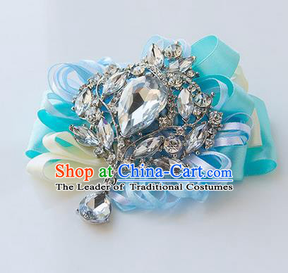 Top Grade Classical Wedding Light Blue Ribbon Corsage Brooch, Bride Emulational Corsage Bridemaid Crystal Brooch Flowers for Women
