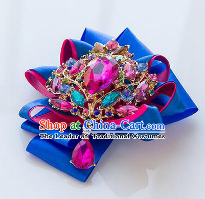 Top Grade Classical Wedding Royalblue Ribbon Corsage Brooch, Bride Emulational Corsage Bridemaid Crystal Brooch Flowers for Women