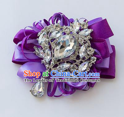 Top Grade Classical Wedding Purple Ribbon Corsage Brooch, Bride Emulational Corsage Bridemaid Crystal Brooch Flowers for Women