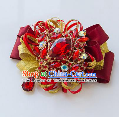 Top Grade Classical Wedding Red Ribbon Corsage Brooch, Bride Emulational Corsage Bridemaid Crystal Brooch Flowers for Women