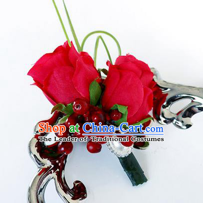 Top Grade Classical Wedding Red Rose Corsage Brooch, Groom Emulational Corsage Groomsman Brooch Flowers for Men