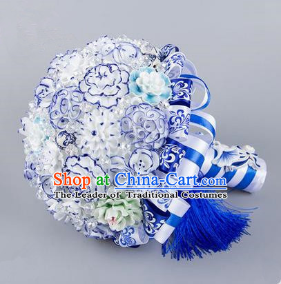 Top Grade Classical China Wedding Blue and White Porcelain Flowers, Bride Holding Emulational Flowers Ball, Hand Tied Bouquet Flowers for Women