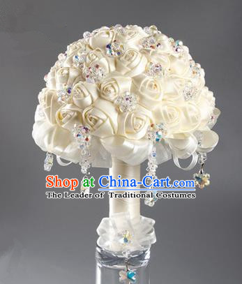 Top Grade Classical China Wedding Extravagant White Ribbon Flowers Nosegay, Bride Holding Luxury Crystal Flowers Ball Hand Tied Bouquet Flowers for Women