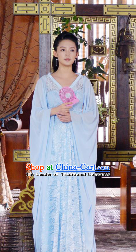 Traditional Ancient Chinese Southern and Northern Dynasties Princess Costume and Headpiece Complete Set, Chinese North Wei Dynasty Lady Embroidered Dress for Women