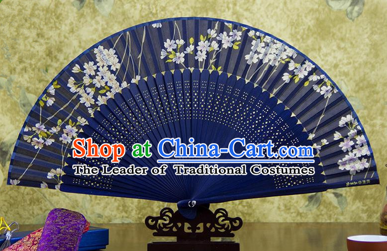Traditional Chinese Handmade Crafts Blue Folding Fan, China Sensu Printing Flowers Silk Fan Hanfu Fans for Women