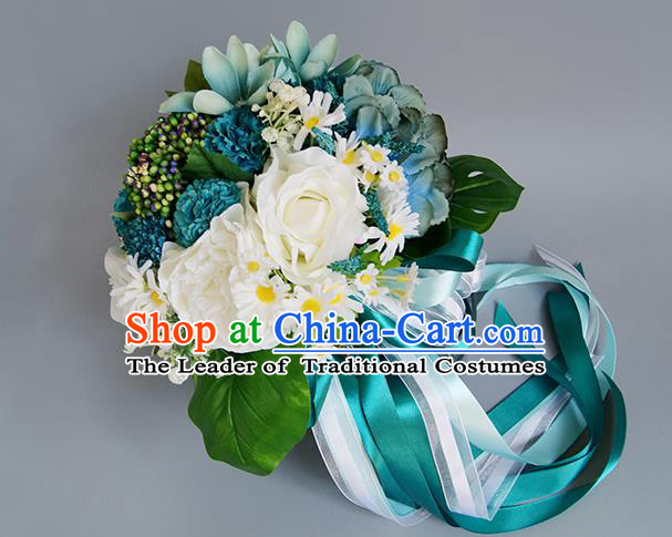 Top Grade Classical Wedding Bride Blue Silk Flowers Holding Emulational Flowers Ball, Crystal Hand Tied Bouquet Flowers for Women
