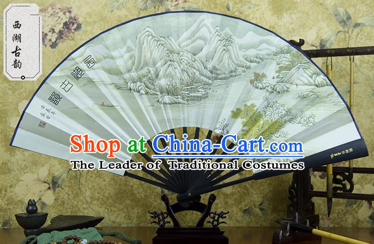 Traditional Chinese Handmade Crafts Ebonize Folding Fan, China Sensu Painting Hangzhou View Silk Fan Hanfu Fans for Men