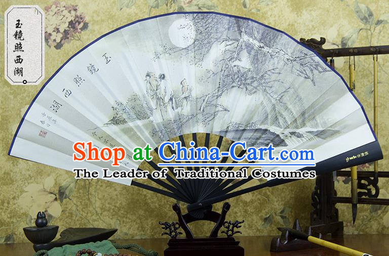 Traditional Chinese Handmade Crafts Ebonize White Folding Fan, China Sensu Painting Hangzhou West Lake View Silk Fan Hanfu Fans for Men