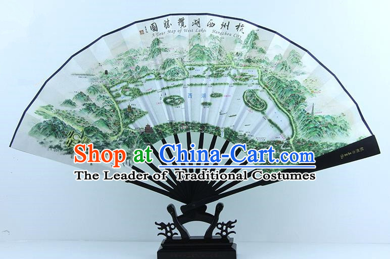 Traditional Chinese Handmade Crafts Ebonize Folding Fan, China Sensu Painting Hangzhou West Lake Map Silk Fan Hanfu Fans for Men